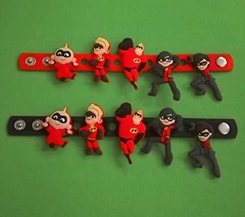2 x 18 cm Silikon-Armbänder – + 10 Stück Disney Incredibles 2-2D PVC-Schuh-Anhänger – ähnlich wie Jibbitz und passend für Crocs