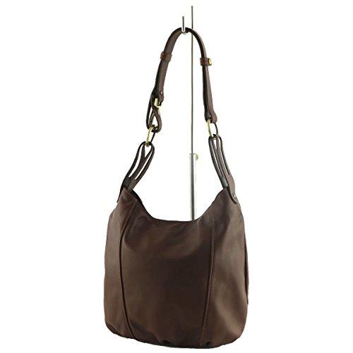 Mega Tuscany - Leather Shoulder Bag Brown To Brown Woman