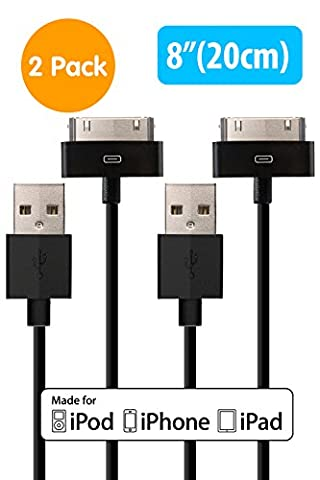 """[Apple MFi Certified] HomeSpot Sync & Charge 30 pin to USB Cable Value Pack – 8"""" (20cm) Short Charging Cable for for iPhone 4, iPhone 4S, iPad 1/2/3, iPod touch, iPod nano (2 Pack - (Iphone 4s Charge Cable Short)"""