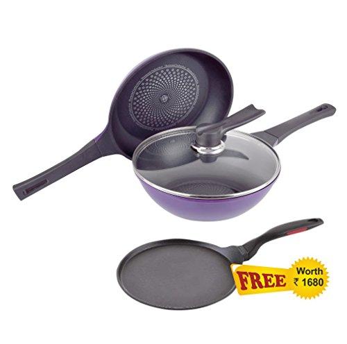 Wonderchef Induction Diamond Pan Set with Free Dosa Tawa, 25cm, 3-Pieces, Black and Purple