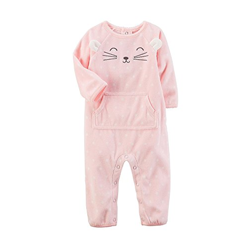 Carter's Baby Girls' Fleece Character Jumpsuit 9 Months, Pink