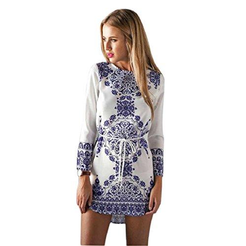 Shensee Retro Vintage Women Sleeveless Dresses Reto Print Party Short Dress (L, Long Sleeve)
