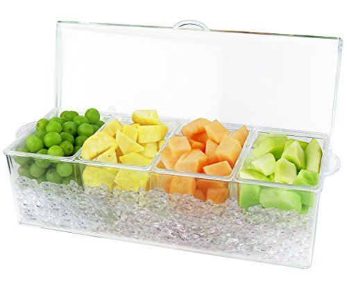 Estilo 4 Section Condiment on Ice, - Holder Condiment Bar
