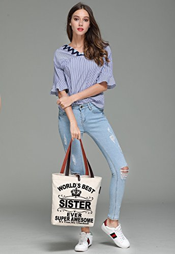 Print So'each amp; Bag Canvas Sister Tote Handbags World's Beach Women's Ever Best qU1rCXwU