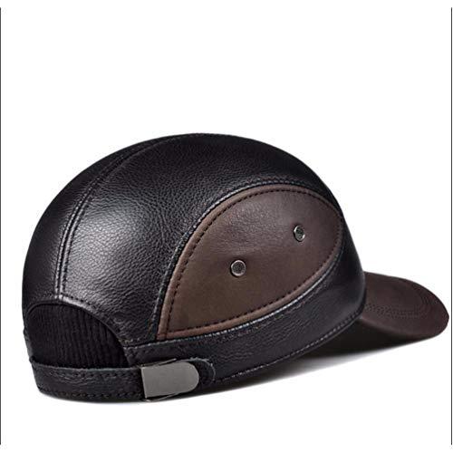Casual Men Baseball 's Edad Winter Sombrero La Hat Marrón Leather Hermoso Cuero Cap Vaquero Sombrero Tercera Del Hombres De HqAvnf