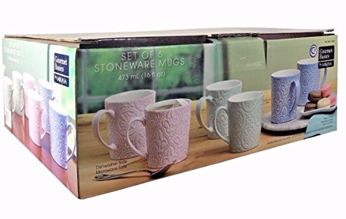 (Mikasa Gourmet Basics 6 Stoneware Mugs 16 fl oz Each Dishwasher & Microwave Safe)
