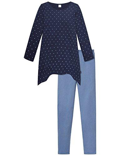 Schiesser Mädchen Zweiteiliger Schlafanzug Anzug Lang, Blau (Nachtblau 804), 140
