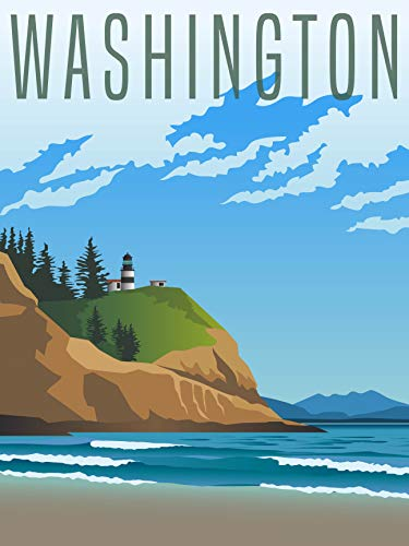EzPosterPrints - Retro Style Travel Poster Series- Poster Printing - Wall Art Print for Home Office Decor - Washington - 36X48 inches