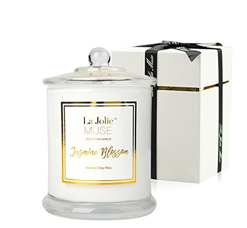 Scented Candle Jasmine 100% Soy Wax in Jar, Gift Box, Large 185g 60 Hours