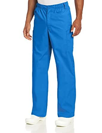 Dickies Men's Everyday Scrubs Elastic Waist Inside Drawstring with Zipper Fly Button Closure, Royal, Large