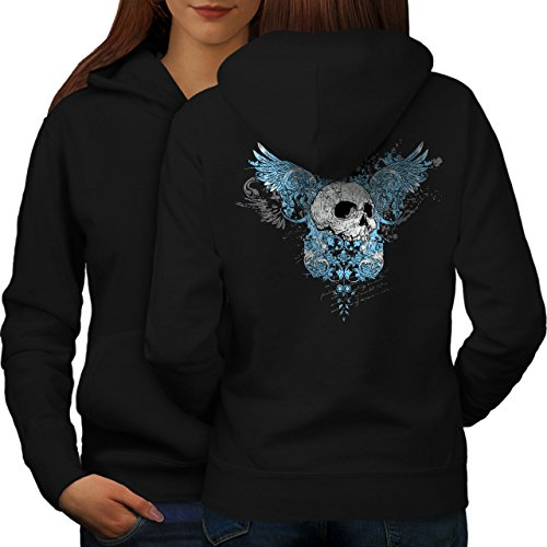 wellcoda Wings Goth Biker Skull Womens Hoodie, Angel Print on The Jumpers Back Black 2XL ()