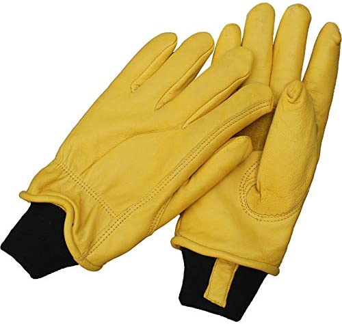労働保護作業用手袋 作業用レザーグローブ不凍液暖かい増粘プラスベルベットの滑り止めグローブ (Color : Yellow, Size : L)
