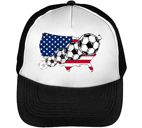 Hombre Footballs Soccer Beisbol Usa Snapback Map Negro Gorras Blanco x7xfTvq
