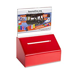 Source One Heavy Duty Donation / Ballot Box with Lock and Sign Holder (1 Pack, Red)