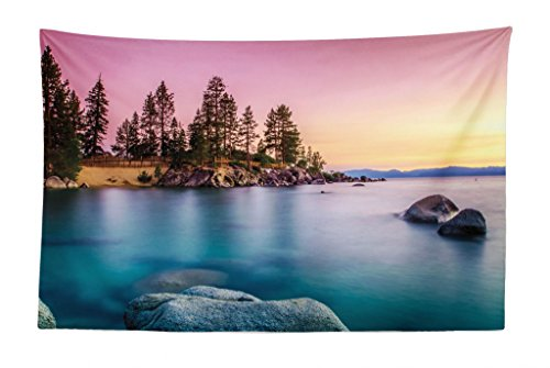 Lunarable Lake Tahoe Tapestry, Surreal Nature Pastoral Scenery with Idyllic Sky Pine Forest Rocks in Water View, Fabric Wall Hanging Decor for Bedroom Living Room Dorm, 45 W X 30 - Pastoral Wall Tapestry Hanging