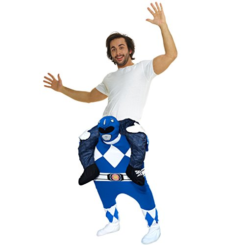 Unisex Blue Mighty Morphin Power Rangers Piggyback Costume - with Stuff Your Own -