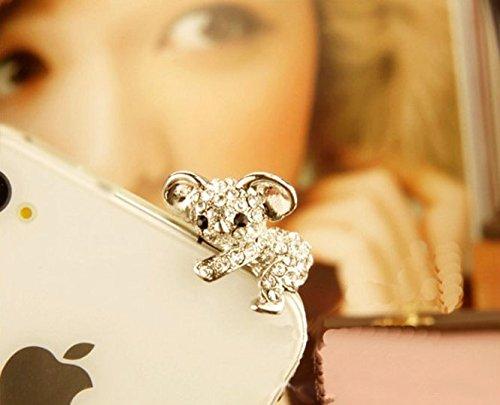 ZOEAST Bling Luxury Silvery Koala Bear Panda Dust Plug 3.5mm Phone Headphone Jack Earphone Ear Cap Dust Plug Charm iPhone 4 4S 5 5S 6 6S Plus Huawei Samsung iPad ()