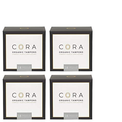 Cora Organic Cotton Tampons with BPA-Free Plastic Compact Applicator; Chlorine & Toxin Free - Regular (72 Count)