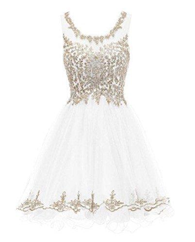Short Prom Dresses Tulle 2018 Gold Lace Appliques 8th Grade Graduation Dresses,6