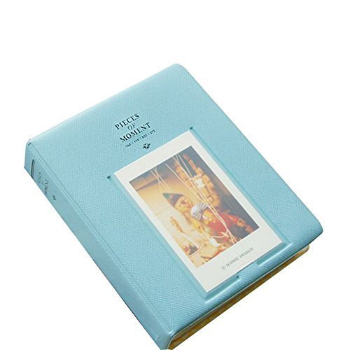 64 Pockets 3 Inch Piece of Moment Candy Color Fujifilm Instax Photo Mini Book Album or Name Card for Polaroid Instax Mini 70 7s 8 25 50s 90 Film ,Polaroid PIC-300P,Z2300 - Blue ()