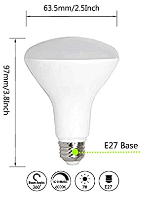 CTKcom LED Flood Light Bulb 7W(4 Pack)- BR63 LED Bulbs 65W Equivalent Indoor/Outdoor Lighting Super Bright 6500K Daylight White 120° Beam Angle LED Indoor Flood Light Bulbs,UL Listed,E26/E27 Base