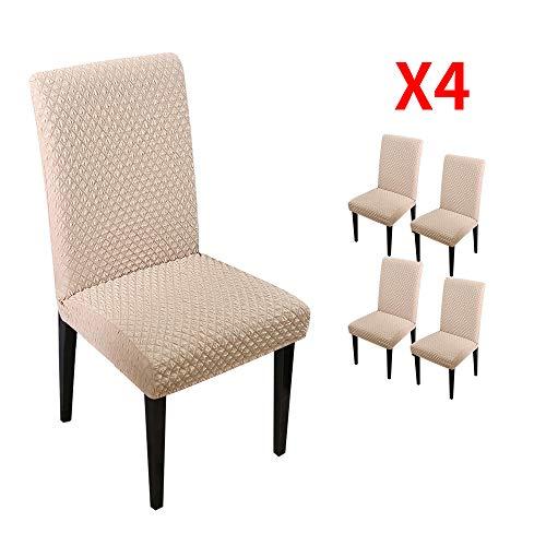 YIMEIS Comfort Stretch Dining Room Chair Covers, Knitted Diamond Lattice Dining Chair Protector, Removable Washable Short Dining Chair Seat Covers for Dining Room, Kitchen, Party (Pack of 4, K_Beige)