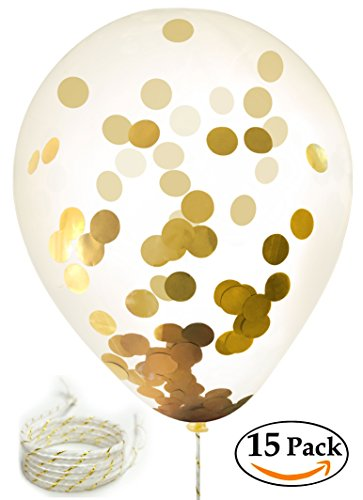 15 Gold Confetti Balloons | 12 Inch Party Balloons With Gold Foil (NOT PAPER) Confetti Dots | Includes 5 White/Gold Strings | Pre-Filled with Confetti | Perfect Party and Holiday Decoration - White Party Ideas