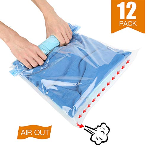 KIWISE Space Saver Bags, No Vacuum Pump, Roll Up Compression Storage Bags Clothes Travel
