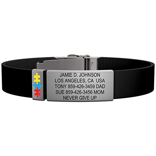 Road ID Autism/Aspergers Bracelet - The Wrist ID Elite 13mm - Stainless Classic - Adjustable Wristband with Free Custom Engraving and Autism Puzzle Badge (Black)
