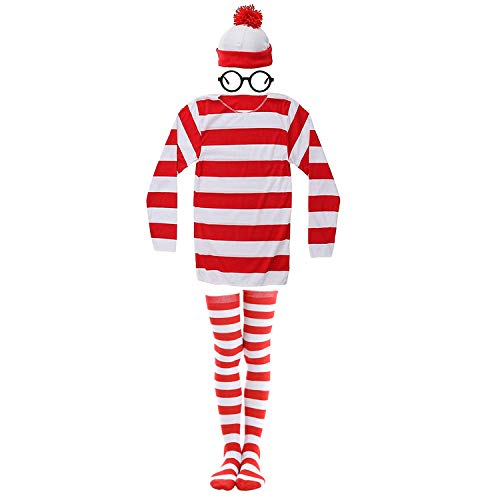 Dunsuns Adult Where's Waldo Costume Red and White Striped T-Shirt Halloween Cosplay ()