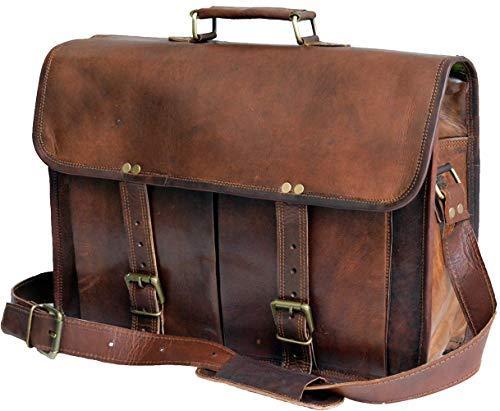 Jaald Leather Messenger Satchel Shoulder Laptop Bag Briefcase office bag for Men Women 15