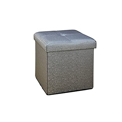 Simplify Faux Leather Folding Storage Ottoman Cube in Metallic Grey