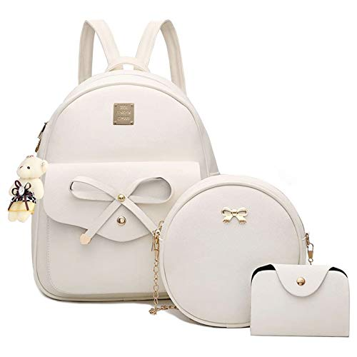 Bowknot Mini Leather Backpack 3-PCS Cute Small Backpack Purse for Women Girls