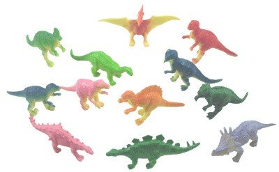 Mini vinyl DINOSAURS - 36 pc - Great party favors, stocking stuffers, cake decorations and more! (Vinyl Dinosaurs)