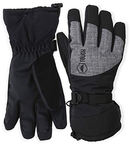 Waterproof Thermal Gloves (Winter Ski & Snowboard Gloves with Wrist Leashes - Waterproof & Windproof Snow Gloves for Skiing, Snowboarding, Shoveling - Nylon Shell, Thermal Insulation & Synthetic Leather Palm - Fits Men & Women)
