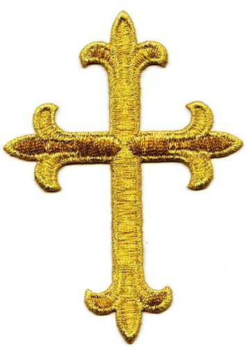 Gold Metallic Fleur De Lis Iron On Embroidered Religious Cross Patch 4 Inch ()