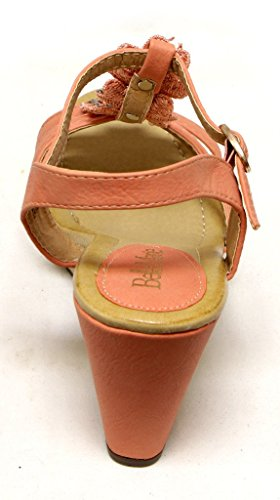 Bella Maria Nxt-1 Womens platform wedge with T-strap ankle strap floral decor upper Sandals Coral 1ihAG