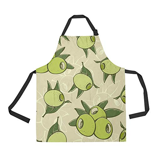 Durable Olive Branch Hand Drawn Vintage All Over Print Apron with an Adjustable Neck&Two Spacious Front Pocketst Unisex Kitchen Home Restaurant Apron for Baking -