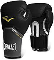 Everlast 8oz Black Pro Style Elite Training Gloves - Premium Synthetic Leather, Full Mesh Palm, Curved Anatomi
