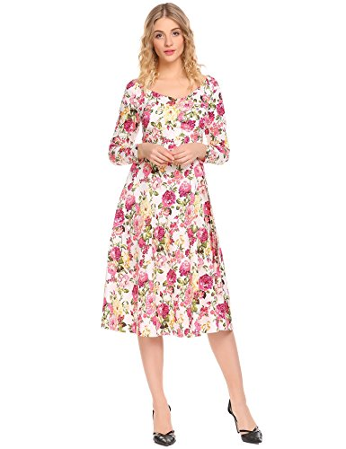 Swing White Waist High Bulges Long Women Floral Dress Midi V Printed Wrap Sleeve Neck nxAU4RwqvA