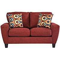 Sagen Collection 9390335 62 Loveseat with Microfiber Upholstery Removable Seat Cushions Tapered Legs and Contemporary Style in Sienna