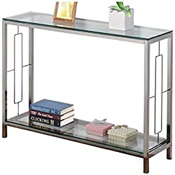 Chrome Metal Glass Accent Console Sofa Table with Shelf