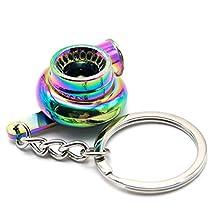 Waterwood Creative Auto Parts Models Spinning Turbo Turbocharger Keychain Key Chain Ring-Rainbow