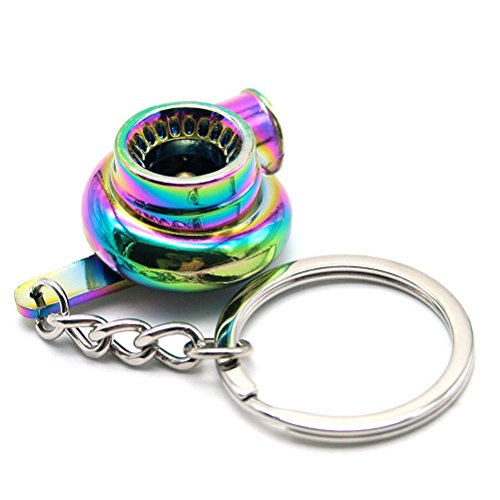 Turbo Impeller (Waterwood Creative Auto Parts Models Spinning Turbo Turbocharger Keychain Key Chain Ring-Rainbow with Cleaning Cloth)