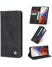 ESONG Hoesje voor Samsung Galaxy A52(4G/5G)/A52s 5G,Flip Leer Hoes met Magnetisch Kaartsleuf Bracket,PU/TPU Wallet Protective Cover Case-zwart
