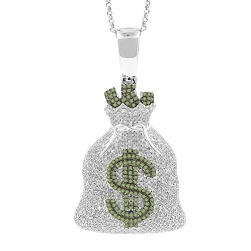 4.31ct Diamond Dollar Sign Money Bag Mens Hip Hop Pendant Necklace in 925 Silver by Isha Luxe-Hip Hop Bling