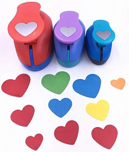 TECH-P Set of 3PCS Heart (2 inch+1.5 inch+1inch) Craft Punch Set Paper Punch Craft Scrapbooking Eva Punches Valentine's Day Gift Punch(Heart)
