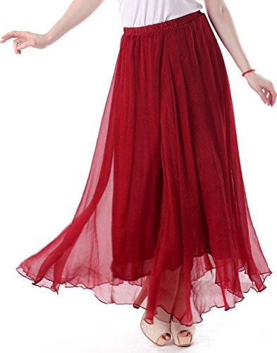 HDE Women's Vintage Pleated Double Layer Chiffon Maxi Retro Skirt (Crimson - Skirt Sheer Vintage