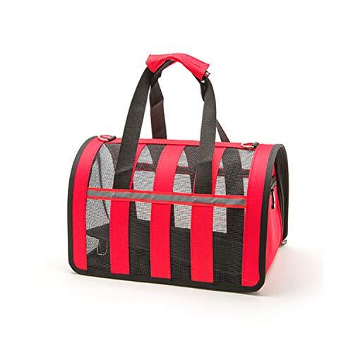 Outdoor Dog Bags Travel Pet Nylon Stripe Breathable Cat Carrier Bag Colorful Handbag S-L Size Easy Carry Pet Bag Pet Carrier,Red,50X27X28