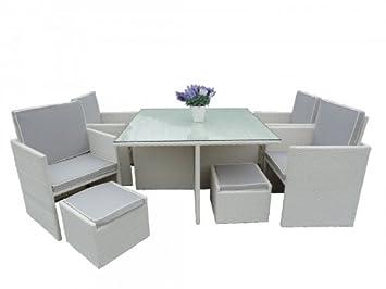 Amazon De Edler Rattan Tisch Gartenmobel Set 22 Tlg 6016 Farbe Weiss